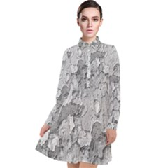 Nature Texture Print Long Sleeve Chiffon Shirt Dress