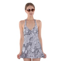 Nature Texture Print Halter Dress Swimsuit
