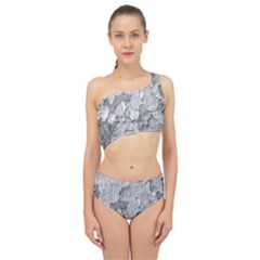 Nature Texture Print Spliced Up Two Piece Swimsuit