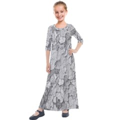 Nature Texture Print Kids  Quarter Sleeve Maxi Dress