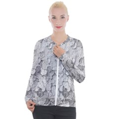 Nature Texture Print Casual Zip Up Jacket