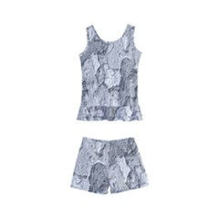 Nature Texture Print Kids  Boyleg Swimsuit