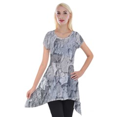 Nature Texture Print Short Sleeve Side Drop Tunic
