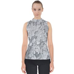 Nature Texture Print Mock Neck Shell Top
