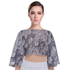 Nature Texture Print Tie Back Butterfly Sleeve Chiffon Top