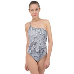 Nature Texture Print Classic One Shoulder Swimsuit