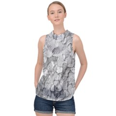 Nature Texture Print High Neck Satin Top by dflcprintsclothing