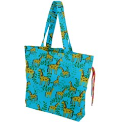 Cute Giraffes Pattern Drawstring Tote Bag by bloomingvinedesign