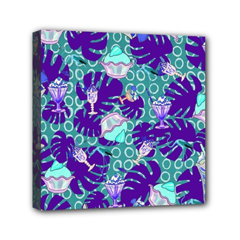 Ice Cream Tropical Pattern Blue Mini Canvas 6  X 6  (stretched)