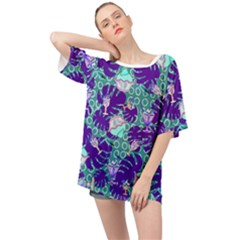 Ice Cream Tropical Pattern Blue Oversized Chiffon Top