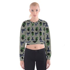 Gothic Girl Rose Grey Pattern Cropped Sweatshirt