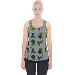 Gothic Girl Rose Grey Pattern Piece Up Tank Top