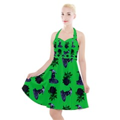 Gothic Girl Rose Green Pattern Halter Party Swing Dress