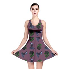 Gothic Girl Rose Mauve Pattern Reversible Skater Dress