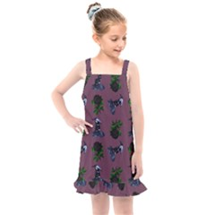 Gothic Girl Rose Mauve Pattern Kids  Overall Dress