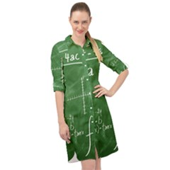 Mathematics Green Long Sleeve Mini Shirt Dress by snowwhitegirl