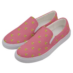 Peeled Banana On Pink Men s Canvas Slip Ons by snowwhitegirl