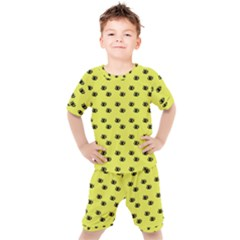 Yellow Eyes Kids  Tee And Shorts Set by snowwhitegirl