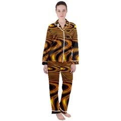 Wave Abstract Lines Satin Long Sleeve Pyjamas Set