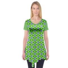 Pattern Green Short Sleeve Tunic