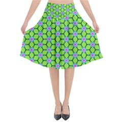 Pattern Green Flared Midi Skirt