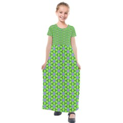 Pattern Green Kids  Short Sleeve Maxi Dress by Mariart