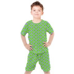 Pattern Green Kids  Tee And Shorts Set by Mariart