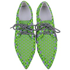 Pattern Green Pointed Oxford Shoes