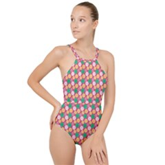 Circle Circumference High Neck One Piece Swimsuit