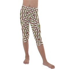 Kaleidoscope Triangle Kids  Lightweight Velour Capri Leggings  by AnjaniArt