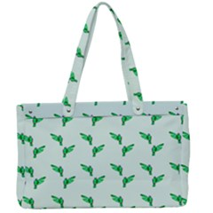 Green Parrot Pattern Canvas Work Bag
