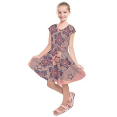 Flowers Orange Purple Warm Kids  Short Sleeve Dress