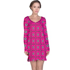 Pink Pattern Squares Long Sleeve Nightdress