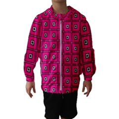 Pink Pattern Squares Kids  Hooded Windbreaker