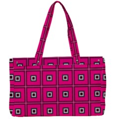 Pink Pattern Squares Canvas Work Bag by HermanTelo