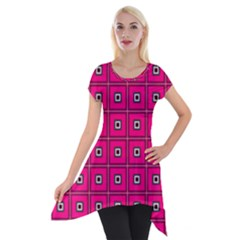 Pink Pattern Squares Short Sleeve Side Drop Tunic by HermanTelo