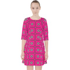 Pink Pattern Squares Pocket Dress