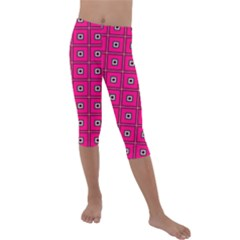 Pink Pattern Squares Kids  Lightweight Velour Capri Leggings