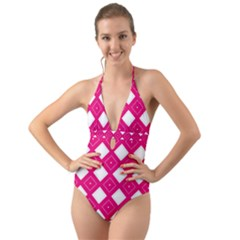 Pattern Texture Halter Cut Out One Piece Swimsuit