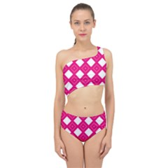 Pattern Texture Spliced Up Two Piece Swimsuit