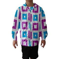 Pattern Plaid Kids  Hooded Windbreaker