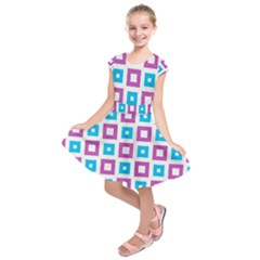 Pattern Plaid Kids  Short Sleeve Dress