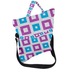 Pattern Plaid Fold Over Handle Tote Bag