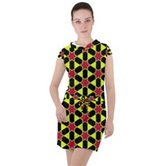 Pattern Texture Backgrounds Drawstring Hooded Dress