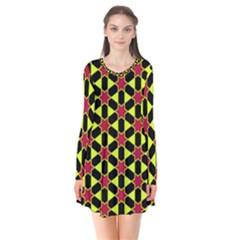 Pattern Texture Backgrounds Long Sleeve V Neck Flare Dress by HermanTelo