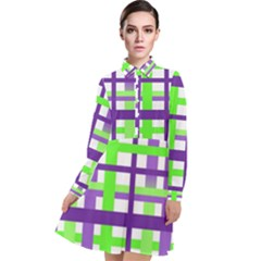 Plaid Waffle Gingham Long Sleeve Chiffon Shirt Dress by HermanTelo