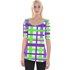Plaid Waffle Gingham Wide Neckline Tee