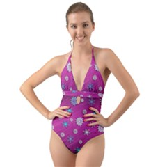Snowflakes Winter Christmas Purple Halter Cut Out One Piece Swimsuit