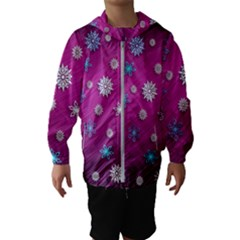 Snowflakes Winter Christmas Purple Kids  Hooded Windbreaker