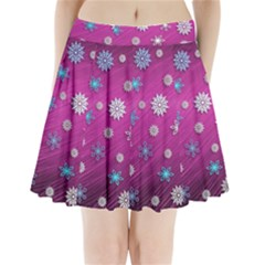 Snowflakes Winter Christmas Purple Pleated Mini Skirt by HermanTelo